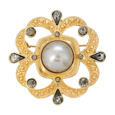 Gold-Tone Grey Costume Pearl With Black Diamond Accent Pin