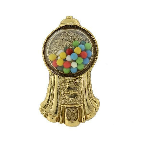 Gold-Tone Multi-Color Gumball Machine Brooch