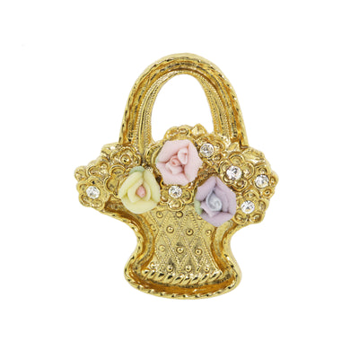 14K Gold Dipped Pink, Purple, And Ivory Genuine Porcelain Rose Flower Basket Pin