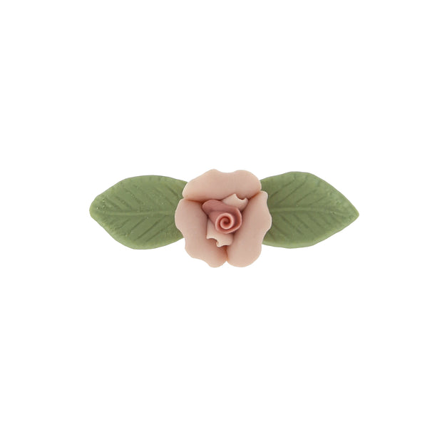 Pink Genuine Porcelain Rose And Green Leaf 14K Gold Dipped Bar Pin