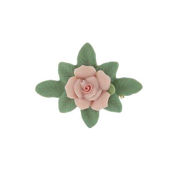 Pink Genuine Porcelain Rose and Green Leaf 14K Gold-Dipped Bar Pin