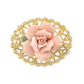 14K Gold-Dipped Pink Genuine Porcelain Rose Filigree Pin