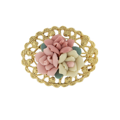 14K Gold Dipped Pink And Ivory Genuine Porcelain Rose Cluster Filigree Pin