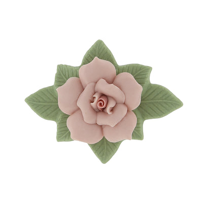 Large Pink Genuine Porcelain Rose And Green Leaf 14K Gold Dipped Bar Pin