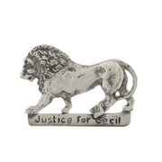Silver-Tone Justice For Cecil The Lion Pin
