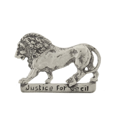 Silver Tone Justice For Cecil The Lion Pin