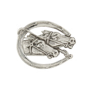 Silver Tone Horseshoe And Horses Pin