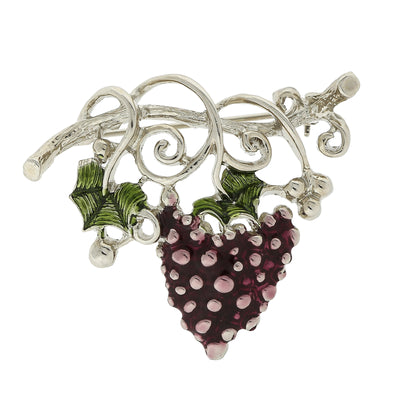Silver Tone Purple Grapes On Vine Pin
