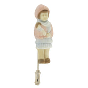 1928 Jewelry Silver Tone Porcelain Child With Doll Pin