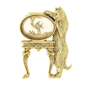 14K Gold Dipped Crystal Cat And Fish Bowl Pin