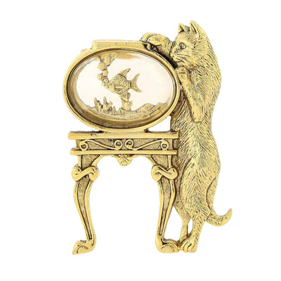 14k Gold Dipped Cat and Crystal Fish Bowl Pin