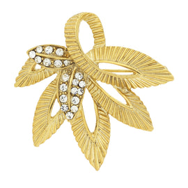 Gold-Tone with Crystal Accent Leaf Pin