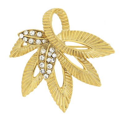 1928 Jewelry Gold-Tone with Crystal Accent Leaf Pin
