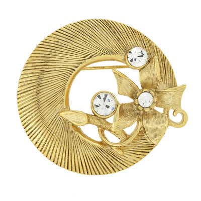Gold Tone With Crystal Accent Round Pin
