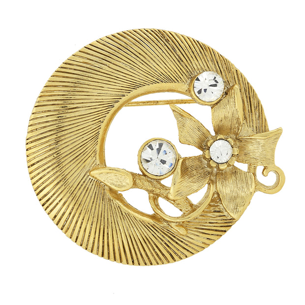 Gold-Tone with Crystal Accent Round Pin