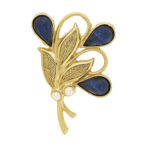 Gold-tone Blue and Costume Pearl Accent Bouquet Pin