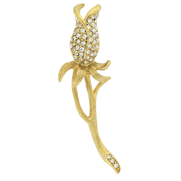 Gold-Tone and Pave Crystal Rose Bud Pin