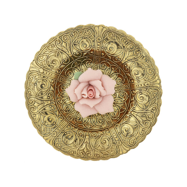 Gold-Tone Etched Disk with Pink Porcelain Rose Pin