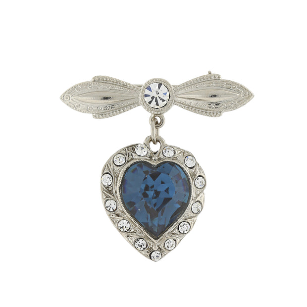 Blue Swarovski Crystal Element Heart Pin