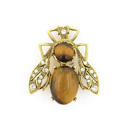 Gold-Tone Tiger s Eye Fin De Siecle Bee Pin