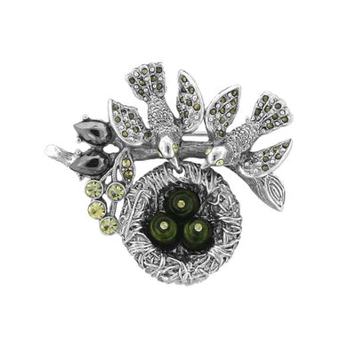 Silver Tone Hematite Color And Green  Costume Pearl Bird Nest Pin