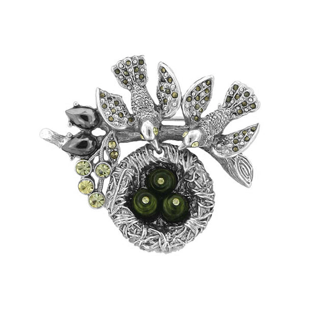 Silver-Tone Hematite Color And Green  Costume Pearl Bird Nest Pin