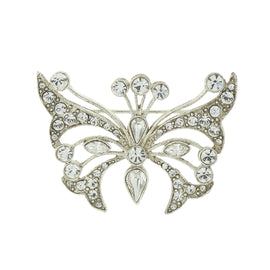 Silver-Tone Crystal Butterfly Pin