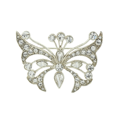 Silver Tone Crystal Butterfly Pin
