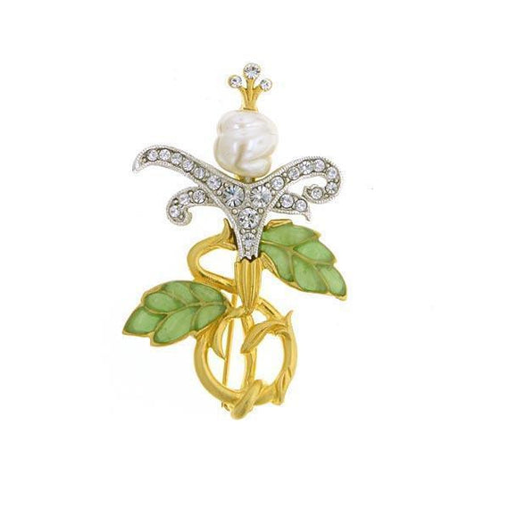 Gold and Silver-Tone Crystal Pave with Green Enamel Costume Pearl Pin