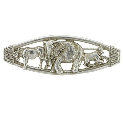 Silver Tone Sculpted Ox, Elephant And Goat Animal Brooch