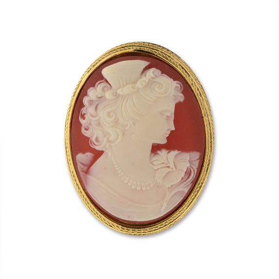 Gold-Tone Carnelian Color Cameo Pin