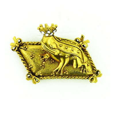 Gold Tone Crystal Prince Charming Frog Pin