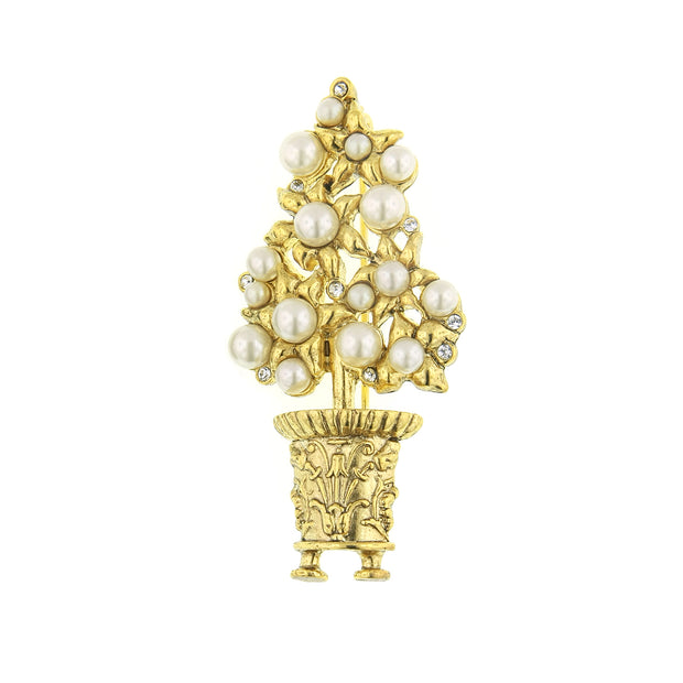 Gold-Tone  Costume Pearl Paradise Topiary Pin