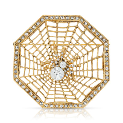 gold tone Victorian spider and web brooch