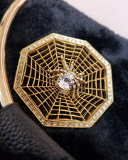 Lifestyle Gold-Tone Crystal Wicked Web Spider Pin