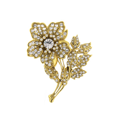 Gold-Tone Pave Crystal Christie s Flower Pin