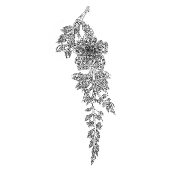 Silver Tone Marcasite Wild Rose Articulated Pin