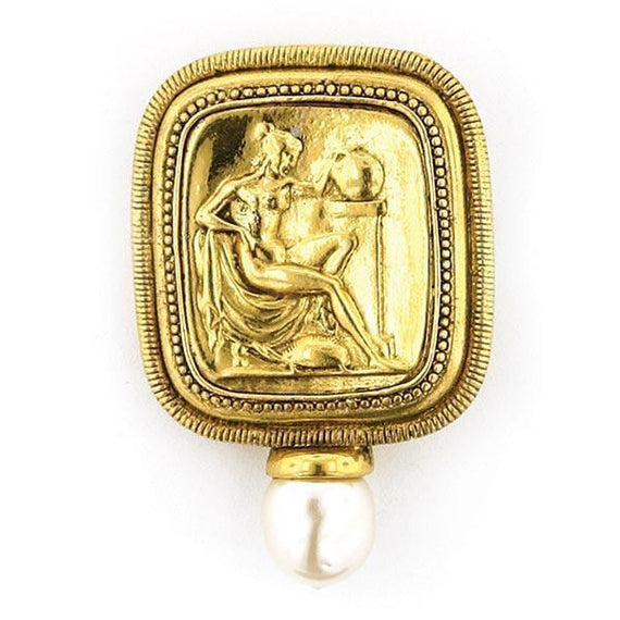 Gold-Tone Simulated Pearl Classical Goddess Pin