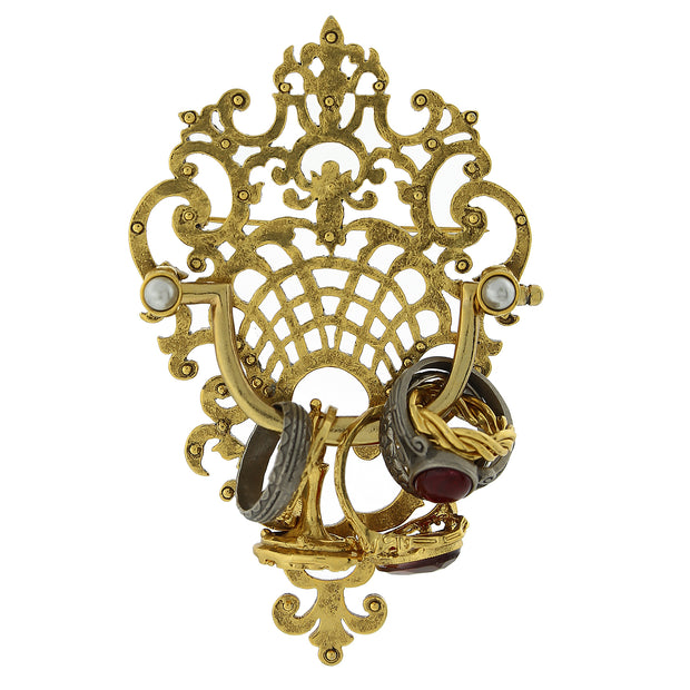 Antiquities Couture Gold-Tone Pewter Marble Red Grey And Costume Pearl Door Knocker Pin