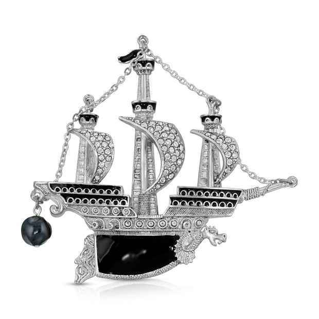 Silver Tone Black Enamel Crystal And Black Costume Pearl Galleon Ship Pin