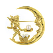 Gold-Tone  Costume Pearl Spirit & Soul Crescent Moon Pin