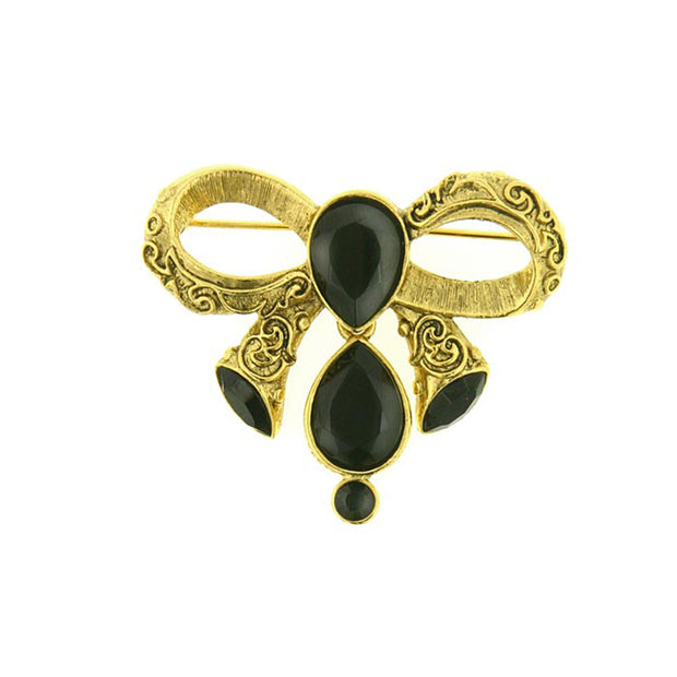 Gold Tone Black Crystal Bow Pin