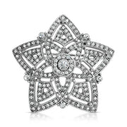 Silver-Tone Pave Crystal Evening Star Brooch