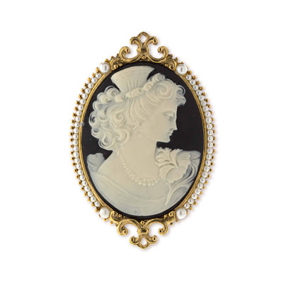 Gold Tone Ivory And Black Cameo Goddess Of Beauty Pin