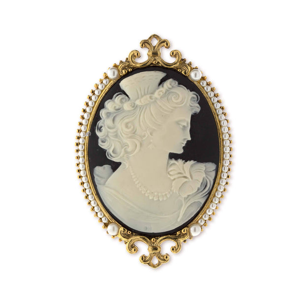 Gold-Tone Ivory and Black Cameo Goddess of Beauty Pin