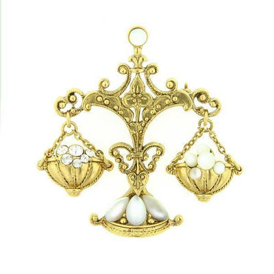 Gold Tone Crystal And Costume Mother Of Pearl Pin