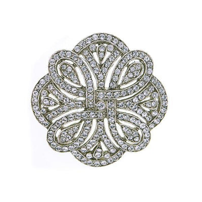 Broche Club St. James Crystal de tono plateado pavimentado