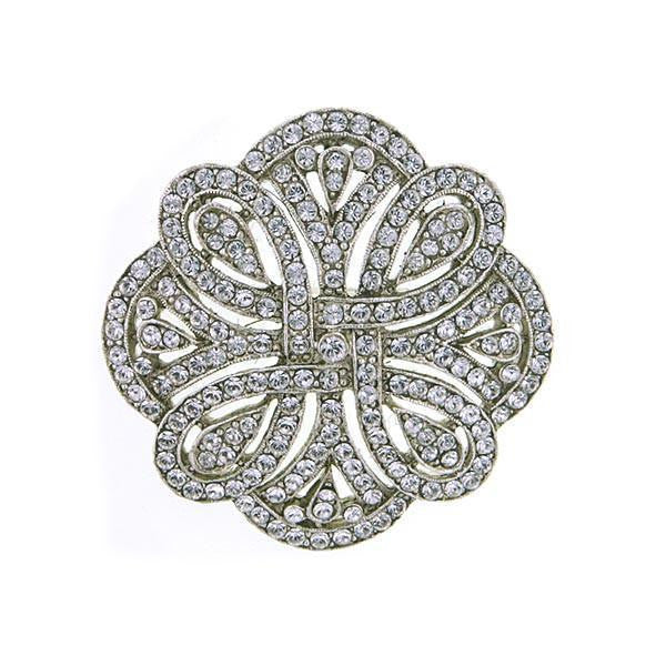 Silver Tone Pave Crystal St. James Club Brooch