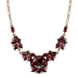Fashion Jewelry - Gold-Tone Red Cluster Necklace