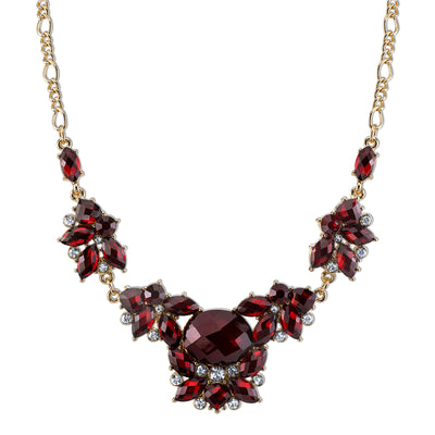 Gold-Tone Red Cluster Necklace 16 In Adj